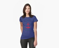 llustration of a red ship anchor on a navy blue stripped background. © Amalia Ferreira-Espinoza www.afeimages.ca