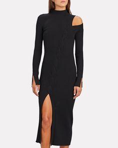 Jonathan Simkhai Aurora Cable Knit Midi Dress | INTERMIX® Shoulder Cut, Cold Shoulder Dress, Jonathan Simkhai, Long Sleeve Midi Dress, Clothing Items, Cable Knit, Rib Knit, Knitting, Model