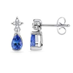 Angara Pear-Shaped Tanzanite and Diamond Flower Stud Earrings m4tq9a