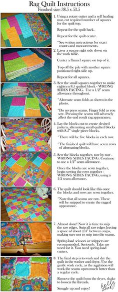 60 ideas baby blanket fabric rag quilt tutorials for 2020 Tutorial Rag Quilt, Rag Quilt Instructions, Tutorial Patchwork, Quilting Tips, Quilting Tutorials, Quilting Projects, Sewing Projects, Fabric Crafts, Sewing Crafts