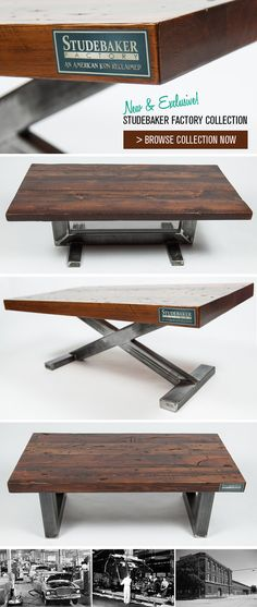 metal furniture Studebaker Factory Collection - coffee tables using reclaimed wood from the floors of the Studebaker factory Welded Furniture, Steel Furniture, Custom Furniture, Modern Furniture, Furniture Design, Furniture Removal, Wood Steel, Wood And Metal, Vintage Industrial Furniture