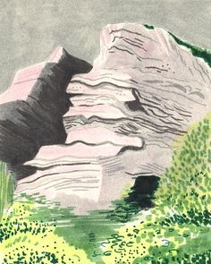 I keep reworking this cliff face. The grey English weather has seeped into my work.