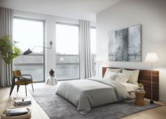 Oscar Properties  #oscarproperties  Stockholm, Zootomiska, Lyceum, bed, bedroom, view, lamp, carpet, interior, design,