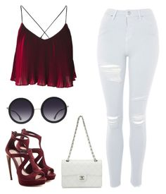 """""""Red"""" by milanedmonds-1 on Polyvore featuring Topshop, Alexander McQueen, Chanel and Alice + Olivia"""
