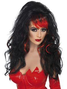 Viettelijättären peruukki. Puna-musta pitkä kiharainen peruukki.