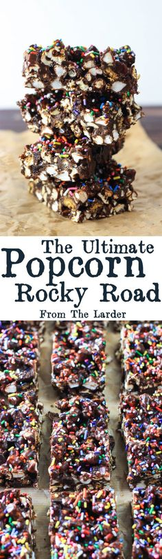 christmas snacks This Ultimate Popcorn Rocky Road hits all the right notes; sweet, salty, chewy, crunchy and most importantly really chocolatey. No Bake Treats, Yummy Treats, Sweet Treats, Popcorn Snacks, Popcorn Recipes, Christmas Snacks, Christmas Baking, Sweet Recipes, Cake Recipes