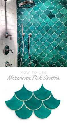 How to use Moroccan Fish Scales for your bath or shower wall! Unique tile with a gorgeous impact - simple yet stunning. #mermaidshower Shared Bathroom, Bathroom Sets, Bathroom Wall, Bathroom Cabinets, Modern Bathroom, Design Your Dream House, House Design, Bathtub Decor, Patios