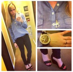 Top & Airplane Necklace: Forever 21, Black skinny jeans: Khol's, Wedges: Payless, Watch: Francesca's