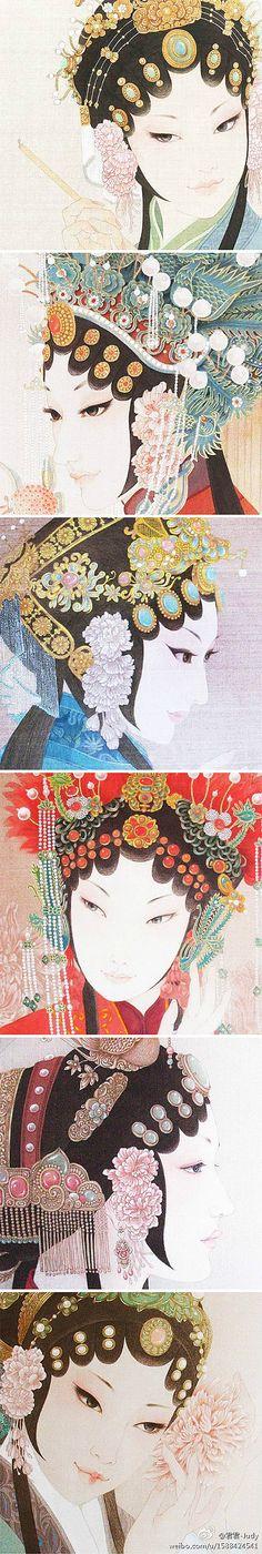 Traditional Chinese realistic painting by Zhou Xue. Beijing Opera 周雪工笔画欣赏之美人记(二)一个迷恋戏曲…