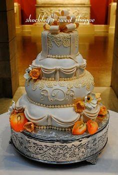 Orange Brown Yellow Layers Wedding Cake
