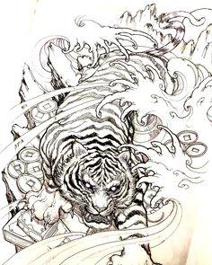 Japanese Tattoo Drawings Tiger 30 Ideas For 2020 Irezumi Tattoos, Maori Tattoos, Tribal Tattoos, Polynesian Tattoos, Geometric Tattoos, Tattos, Hand Tattoos, Japanese Tiger Tattoo, Japanese Tattoo Designs
