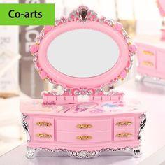 Rosa doce estilo europeu grande espelho de maquilhagem pequena caixa de jóias de música objeto multi caixa de armazenamento de gaveta moda princesa espelho