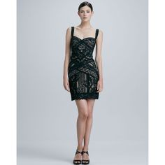 Nicole Miller Fitted Lace Cocktail Dress ($430) ❤ liked on Polyvore featuring dresses, short dresses, mini dress, black sweetheart dress, black cocktail dresses and lace dress