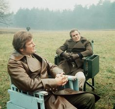 Roger Moore and Tony Curtis on the set of The Persuaders