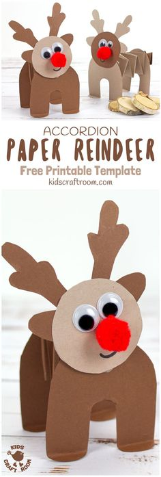 PRINTABLE ACCORDION PAPER REINDEER CRAFT - here's a super fun printable reindeer that kids can play with. This homemade paper reindeer toy has a simple but cleverly folded body that allows it to stand up and be walked along by little hands. The accordion folds work like a spring so the paper reindeer can bounce up and down on their bottoms too! Seriously so much fun and cuteness! This is a free printable reindeer craft. #reindeer #christmas #rudolf #papercrafts #printablecrafts #printables…