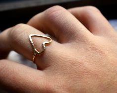 Handmade to Order 14K Gold fill Heart Ring by RachelPfefferDesigns