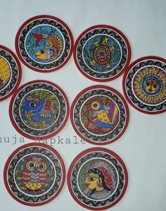Madhubani Art, Madhubani Painting, Indian Folk Art, Traditional Art, Coasters, Decorative Plates, Projects To Try, Sketches, Paintings