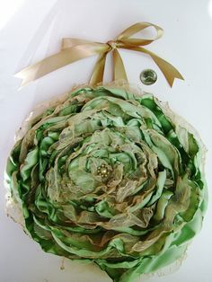 Sage Green Flower Celery Green Shabby Chic Wall Art by OurPlaceToNest