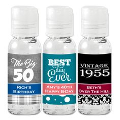 Create the perfect, personalized favor with our Birthday Hand Sanitizer! They make a great addition to a picnic in the park or a gathering at a theme park or zoo. To personalize them, you can choose a pattern, a design icon, and 2 colors. Travel Size Bottles, Over The Hill, Picnic In The Park, Happy B Day, Personalized Favors, Birthday Party Favors, Hand Sanitizer, Travel Size Products, Drink Bottles
