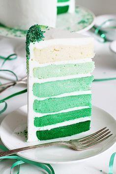 Green Ombre Layer Cake covered in Green Sprinkles | @Amanda Snelson Snelson Rettke