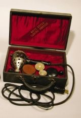 """Early Century Vibrator by White Cross: In the early century, vaginal stimulation with vibratory devices for the treatment of female hysteria was a common & lucrative part of many physicians' office practices. Treatment of """"hysteria"""". Female Hysteria, Crossover, Instruments, Vintage Medical, White Crosses, Medical Science, Medical History, Medical Equipment, Astrology"""