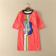 >> Click to Buy << 2017 new runway brand dress for woman t-stage o-neck guitar printed orange half sleeve spring casual summer dress high quality #Affiliate