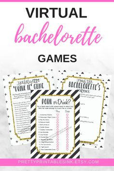 Virutal bachelorette party games - comes with three bachelorette games to help you celebrate from afar when you can't get together in person! Simply download and email to guests before your virtual bachelorette party begins #virtualbacheloretteparty #onlinebacheloretteparty #virtualbachelorettegames #virtualhenparty #bacheloretteideas #bachelorettegames Hens Party Invitations, Printable Invitations, Party Printables, Bachelorette Invitations, Bachelorette Party Games, Party Ideas, Pretty, Bridal Shower, Marriage