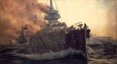 Oil Painting of First Battle Cruiser Squadron of Grand Fleet c. 1915., William Lionel Wyllie