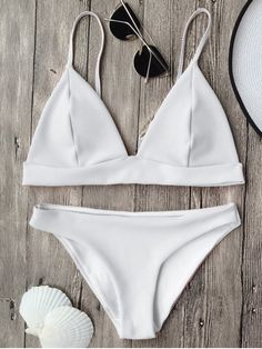 Cami Plunge Bralette Bikini Top and Bottoms - WHITE S Mobile