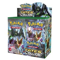 Fates are sealed and two Pokémon worlds join together in the Pokémon TCG: XY-Fates Collide expansion! Mega Alakazam-EX sees the future—and shapes it to unify two worlds! With this booster box, you can get 36 packs of 10 cards to expand your game! In Pokémon TCG: XY-Fates Collide reality shifts and is remade by the devious Mega Alakazam-EX! Meanwhile, the Legendary Pokémon Zygarde arrives in many different Formes to bring order, together with Lugia BREAK, Mega Altaria-EX, and Umbreon-EX.