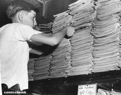 Boy back issue comic hunting(1946). Dude! Don't pull from the bottom of the stack THAT WAY!!!