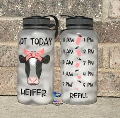 Motivational Water Bottle, Not Today Heifer, With a Cute Cow Wearing a Pink Bandana printed on a water bottle - Christmas Deesserts Funny Water Bottle, Cute Water Bottles, Pink Water Bottle, Water Bottle Design, Drink More Water, Cute Cows, Design Poster, Branding, Tumbler Designs