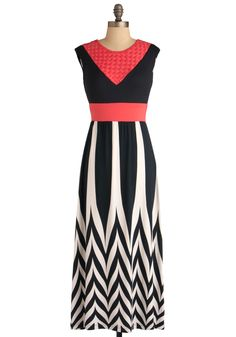 Come on Dune Dress - Long, Pink, Black, White, Party, Maxi, Stripes, Woven, Vintage Inspired, 60s, Cap Sleeves