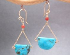 Hammered rectangle earrings with red coral by CalicoJunoJewelry