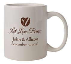 """Personalized Wedding Mugs """"Let Love Brew"""" 108 Wedding Favors Ceramic Coffee Mugs PERSONALIZED Gifts Vitrified Ceramic Coffee Cocoa Bar by Factory21 on Etsy"""