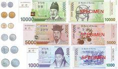 Monedas y billetes de Corea del Sur.