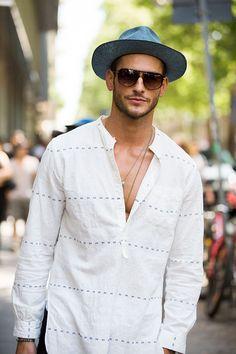 casual linen popover, Street looks homme Milan // menswear street style + fashion