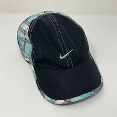 e6faa8b394e Nike Fit Hat Blue Plaid Running Active Athletic One Size Hook   Loop  Baseball  fashion