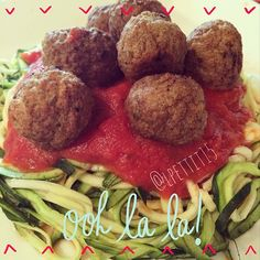 Delicious paleo pasta! So yummy! For more pictures like this, follow me on Instagram @lpettit15! #paleo #pasta #meatballs #food #foodie