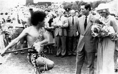 April 18, 1983: The royal couple face a Maori challenge at Eden Park, Auckland, New Zealand.