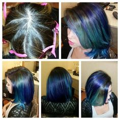 Pinwheel hair color, mermaid hair, by Mary Baxley-Pierle