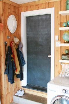 Garage Organizing: a chalkboard door.  Great idea.