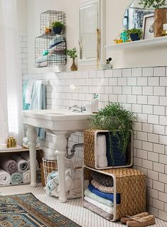 Target_Emily Henderson_Bathroom_Blue White Green Eclectic Bohemian_mirror wall with sink