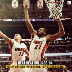"""The Miami Heat Beats the Chicago Bulls 96 - 84. Hassan Whiteside gets a #TripleDouble (14 Pts/13 Bds/12 Blks) Asked What was his Inspiration Today? """"I Wanted to raise My #NBA2k Ranking"""""""