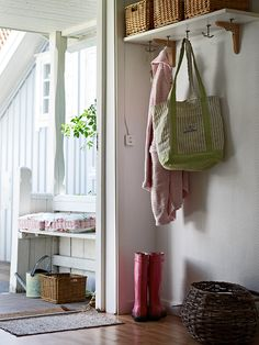 shelf with hooks underneath