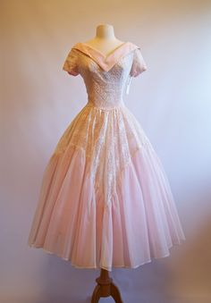 Vintage 50s Pink Eyelet Lace Party Dress 1950s by xtabayvintage