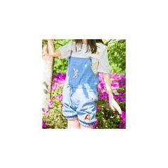 Embroidered Denim Jumper Shorts (593.560 VND) ❤ liked on Polyvore featuring shorts, women, embroidered shorts, blue shorts, blue denim shorts, embroidered denim shorts and denim shorts