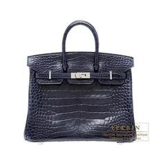 4d31e1911b Hermes Birkin Bag 25 Blue Abysse Alligator Crocodile Skin Silver Hardware