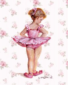PRINT ON PAPER - Fair Haired Ballerina - FREE POSTAGE WORLDWIDE