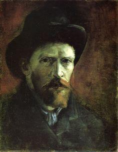 thebigkelu:  Self Portrait in a Dark Felt Hat, 1886 Vincent Van Gogh